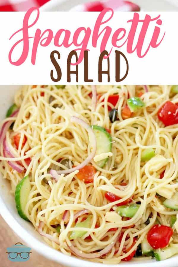 This summer Spaghetti Salad recipe is a classic and is full of veggies, cheese, seasoning and tossed with a yummy Italian dressing. Always a hit! #spaghettisalad #sidedish