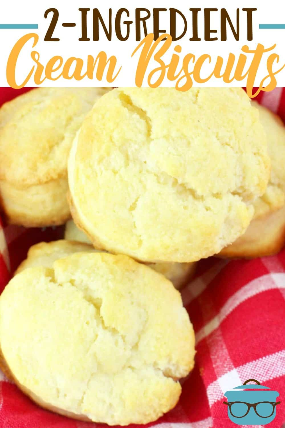 These 2-Ingredient Cream Biscuits are the easiest, fluffiest homemade biscuits ever! Just self rising flour and heavy cream with melted butter on top! #creambiscuits #breads