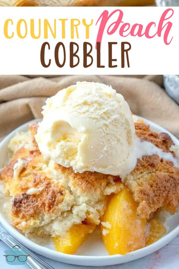 Easy Country Peach Cobbler has the best, soft, cake-like crumble topping! Use canned peaches or fresh peaches. Top with ice cream!