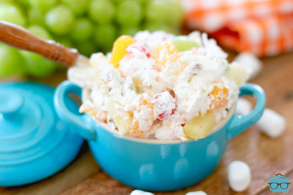 Southern Ambrosia Fruit Salad in a small blue bowl