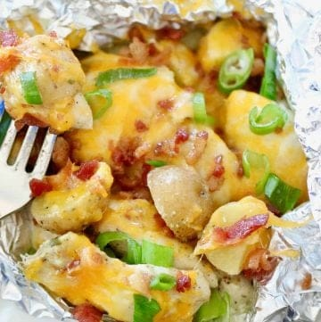 Chicken Potato Packets with Cheese, Bacon and green onions
