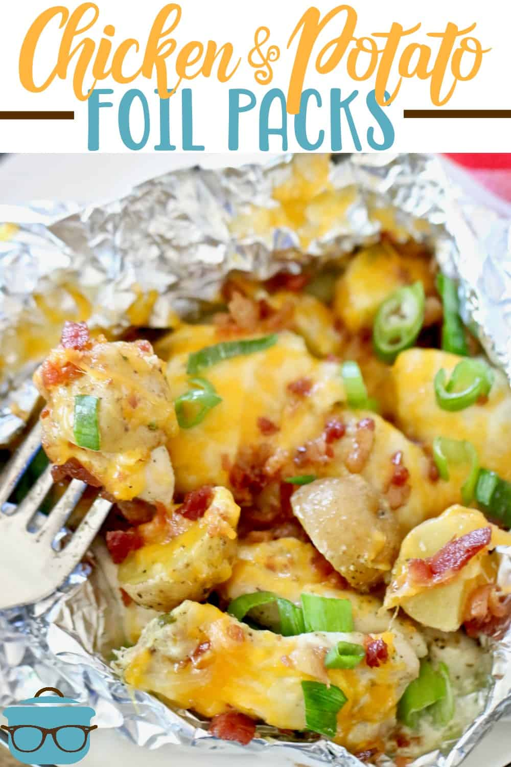 Chicken and Potato Foil Packs are made with seasoned potatoes, chicken thighs and smothered in a garlic cream sauce then topped with melted cheese and bacon! #grilling #potatopackets