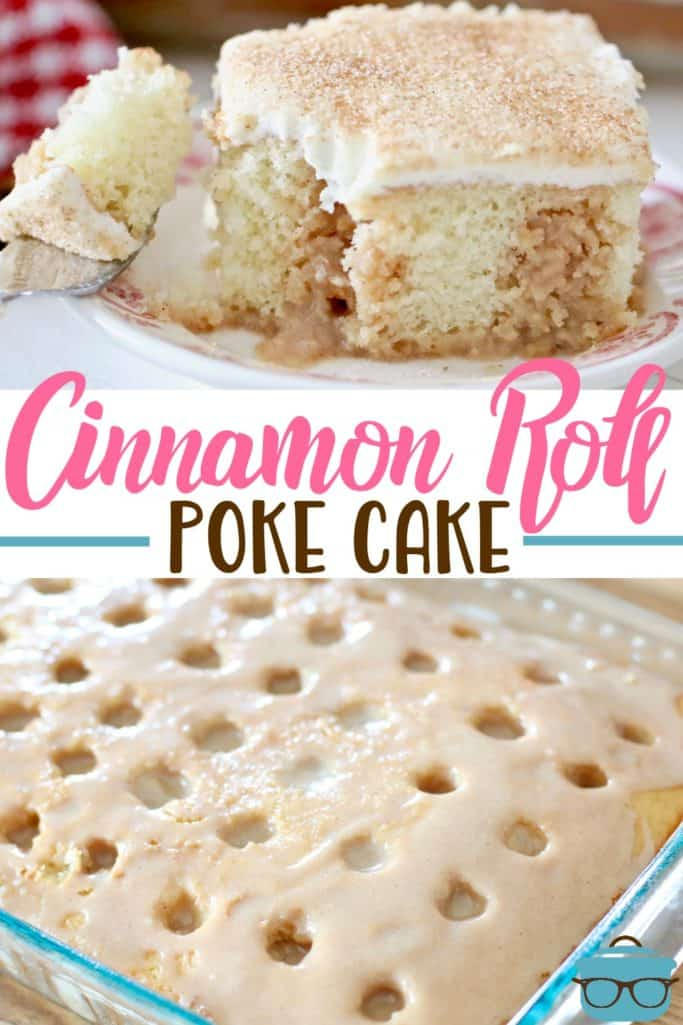 Cinnamon Roll Poke Cake recipe from The Country Cook