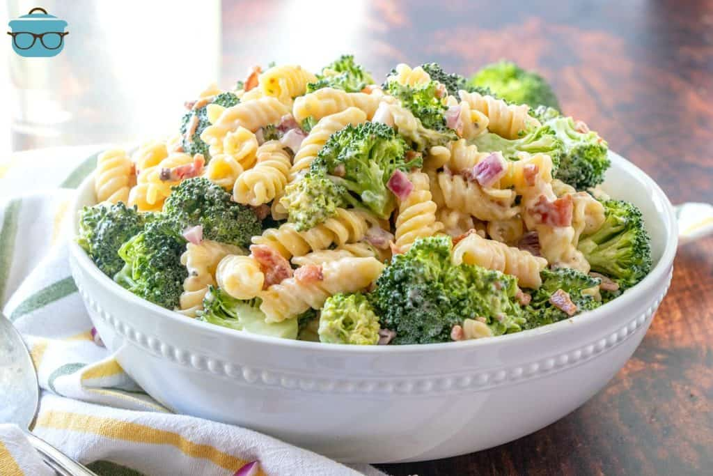 Creamy Bacon Broccoli Pasta Salad in a white serving bowl