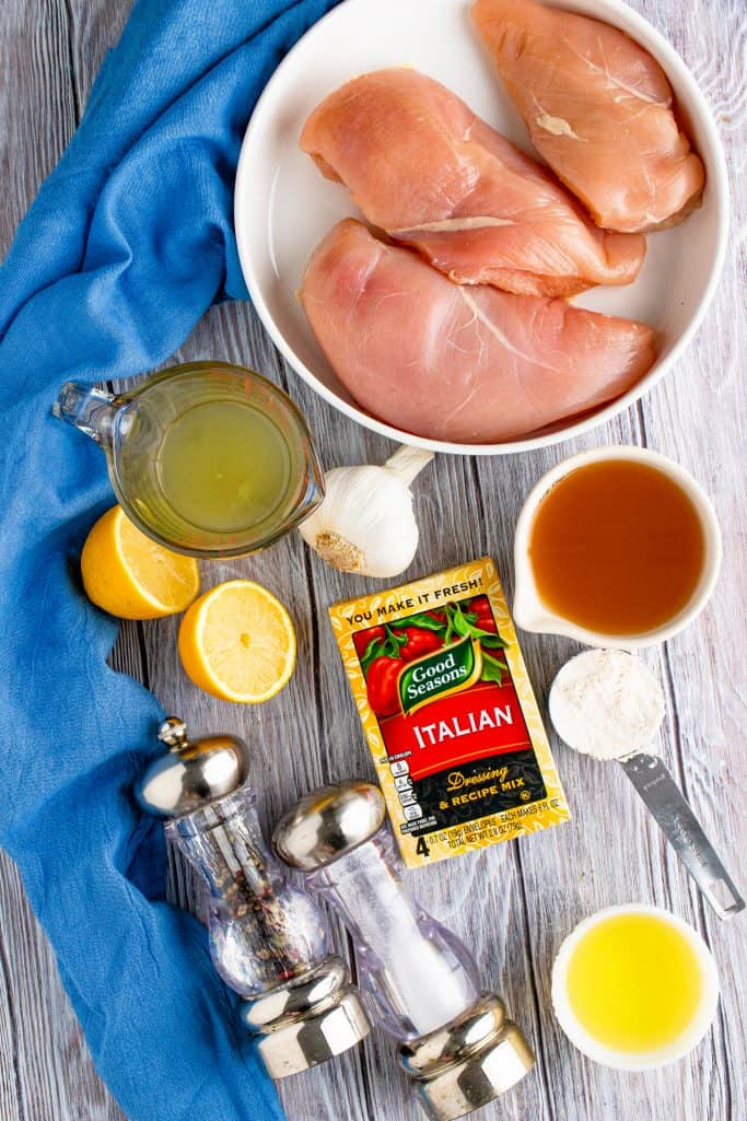 Crock Pot Lemon Garlic Chicken Ingredients: chicken tenders, lemon juice, chicken broth, garlic, salt and pepper, oil, butter, all purpose flour, Good Seasons Italian dressing