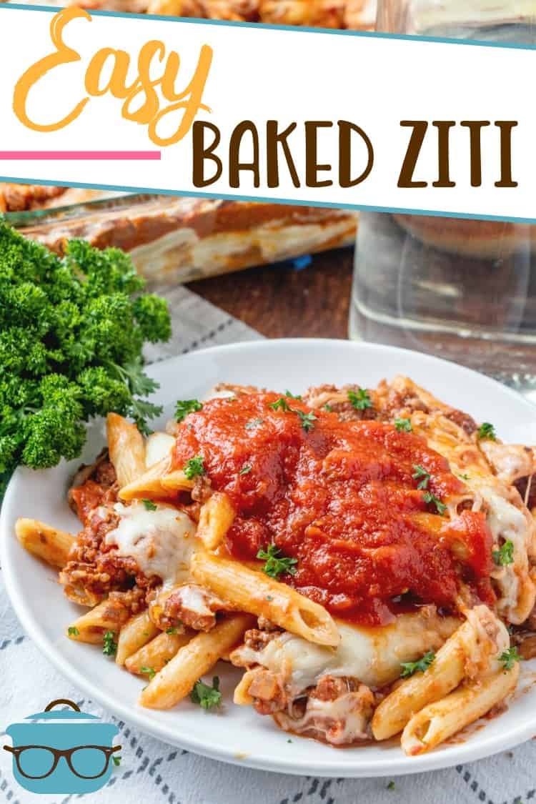 This easy baked ziti is a huge family favorite. Creamy, cheesy alfredo pasta topped with a beefy spaghetti sauce! Topped with melted cheese! #bakedziti #easydinner