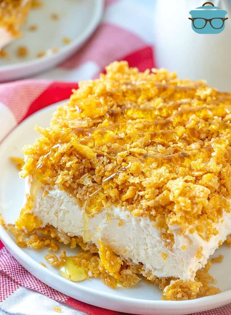 No Bake Fried Ice Cream Cake recipe served with honey