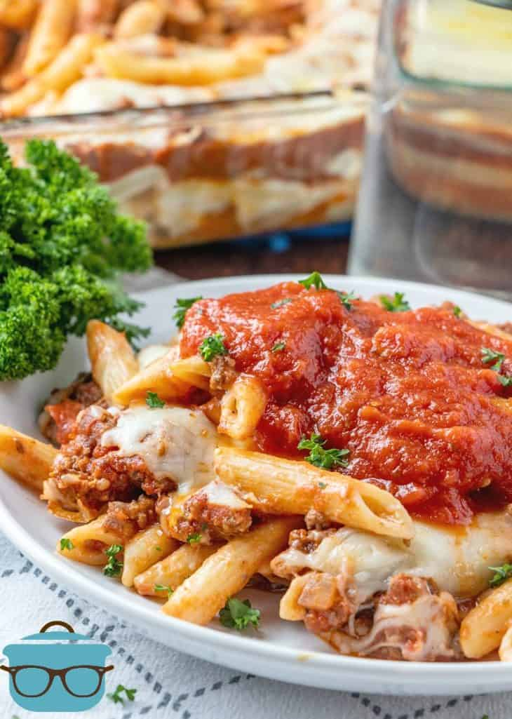 Easy Ground Beef Baked Ziti Casserole