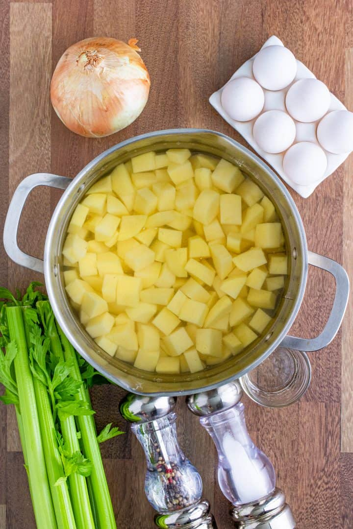 diced gold potatoes in a large pot of water.