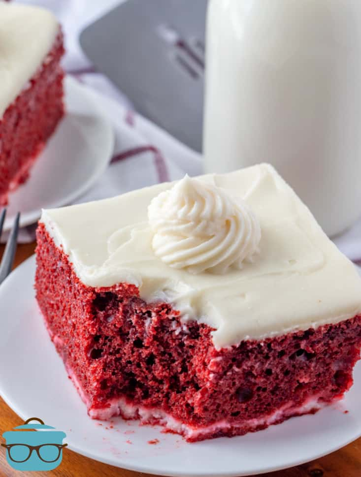 slice of red velvet cake on a small white plate