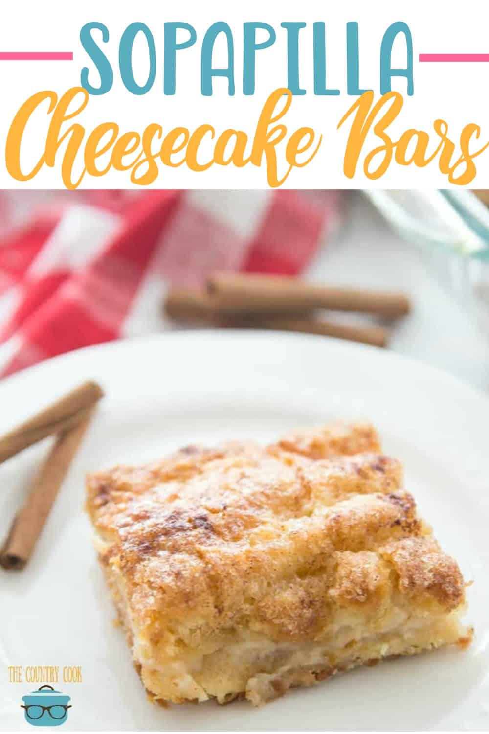 Easy Sopapilla Cheesecake is made with crescent roll dough, cream cheese, sugar, cinnamon and melted butter. A deliciously easy dessert! #cheesecakebars #crescentrolls