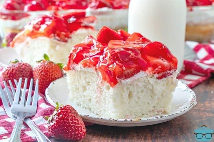 Strawberry Shortcake Cake, slice, served on a small white plate