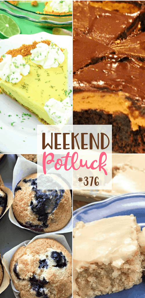 Weekend Potluck featured recipes include: Old School Pea Salad, Best Key Lime Pie, Buckeye Brownies, Buttermilk Texas Sheet Cake, Perfect Blueberry Muffins #weekendpotluck #desserts