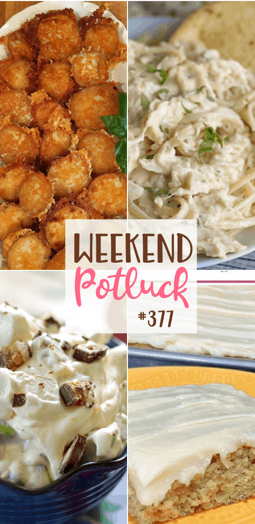 Weekend Potluck featured recipes include: Frosted Banana Bars, Crock Pot Chicken Tetrazzini, Parmesan Garlic Butter Red Potatoes, Snickers Apple Salad