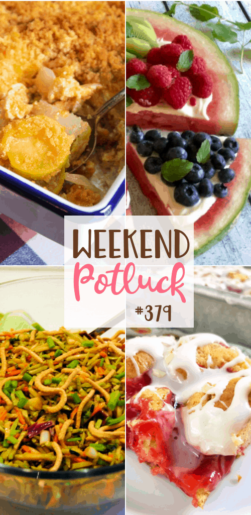 Featured recipes from Weekend Potluck: Asian Broccoli Slaw, Watermelon Pizza, Exceptional Squash Casserole and Easy Cherry Danish Cake #potluck #mealplan