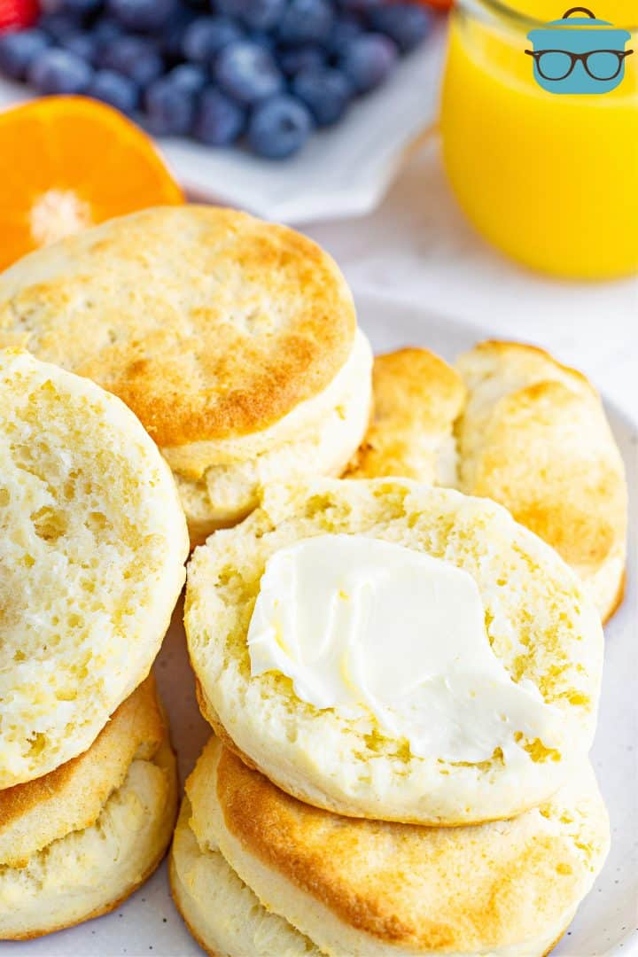 butter spread on the inside of a cream biscuits