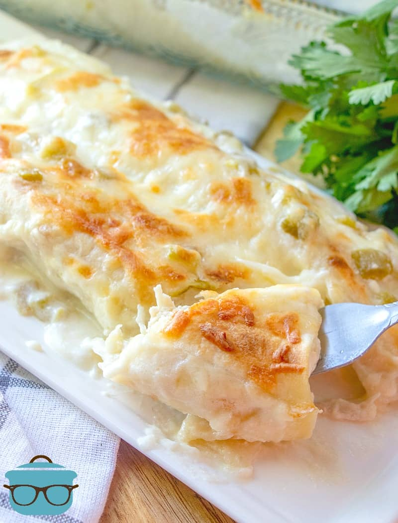 forkful, chicken enchiladas on a plate with fresh parsley