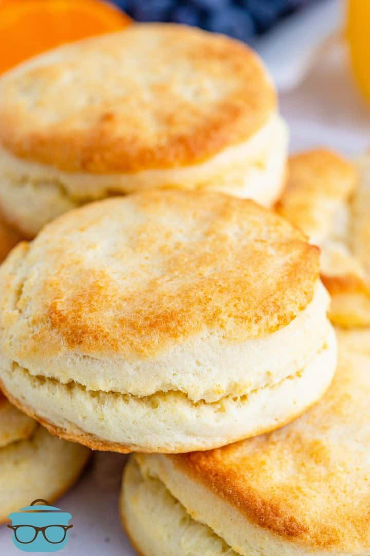 closeup photo of a stack of biscuits