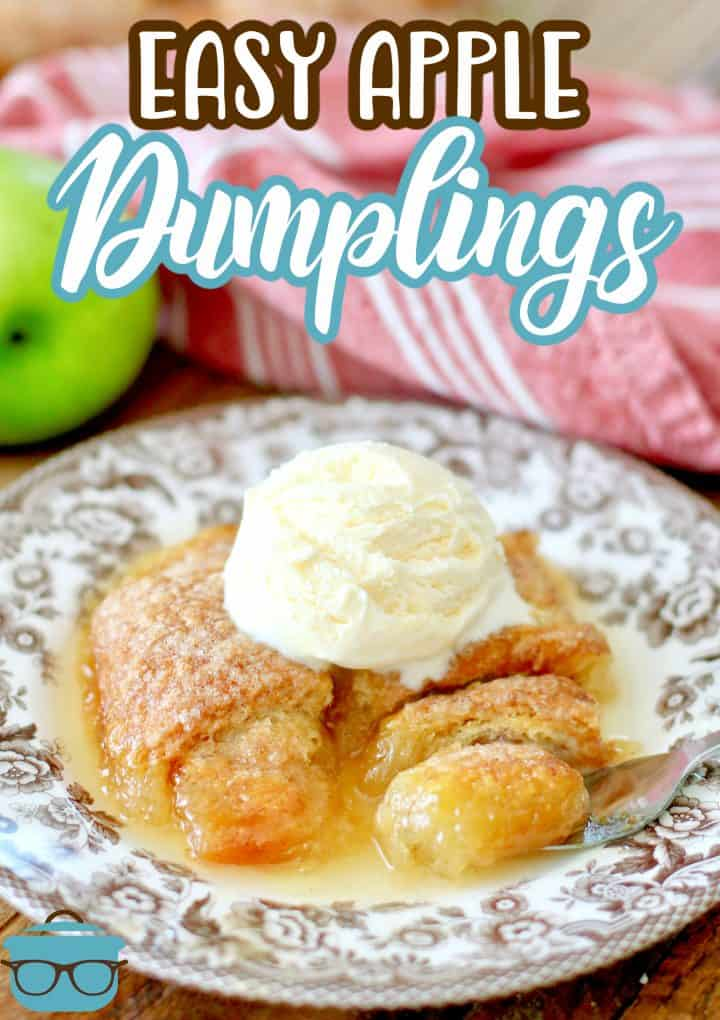 Apple Dumplings recipe from The Country Cook, two dumplings topped with ice cream on a brown and white plate