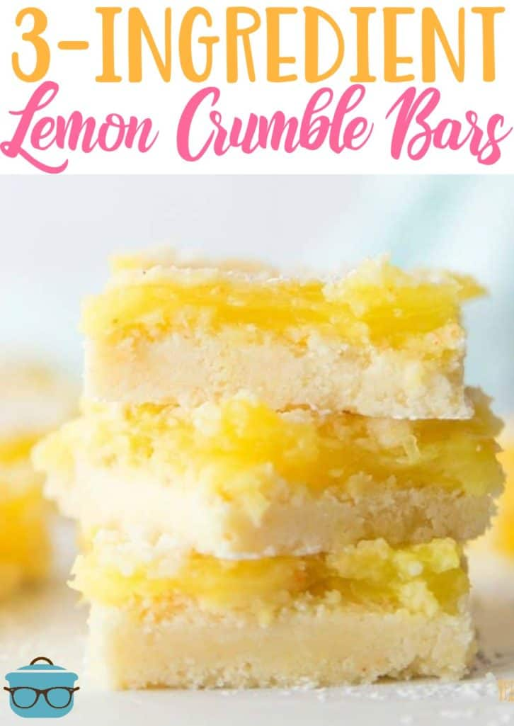 3-Ingredient Lemon Crumble Bars recipe from The Country Cook