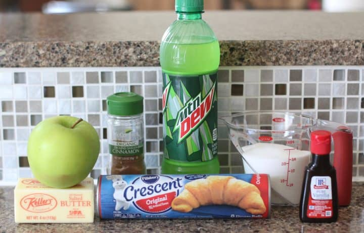 ingredients needed: green apple, crescent rolls, butter, sugar, vanilla extract, cinnamon, flour, lemon lime soda