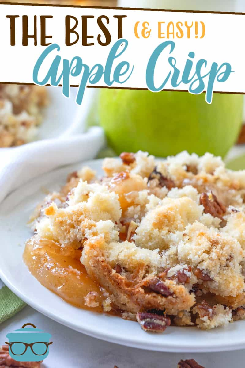 This Easy Apple Crisp is made with a cinnamon apple pie filling and is topped with a butter crumble topping (no oatmeal on this one!)