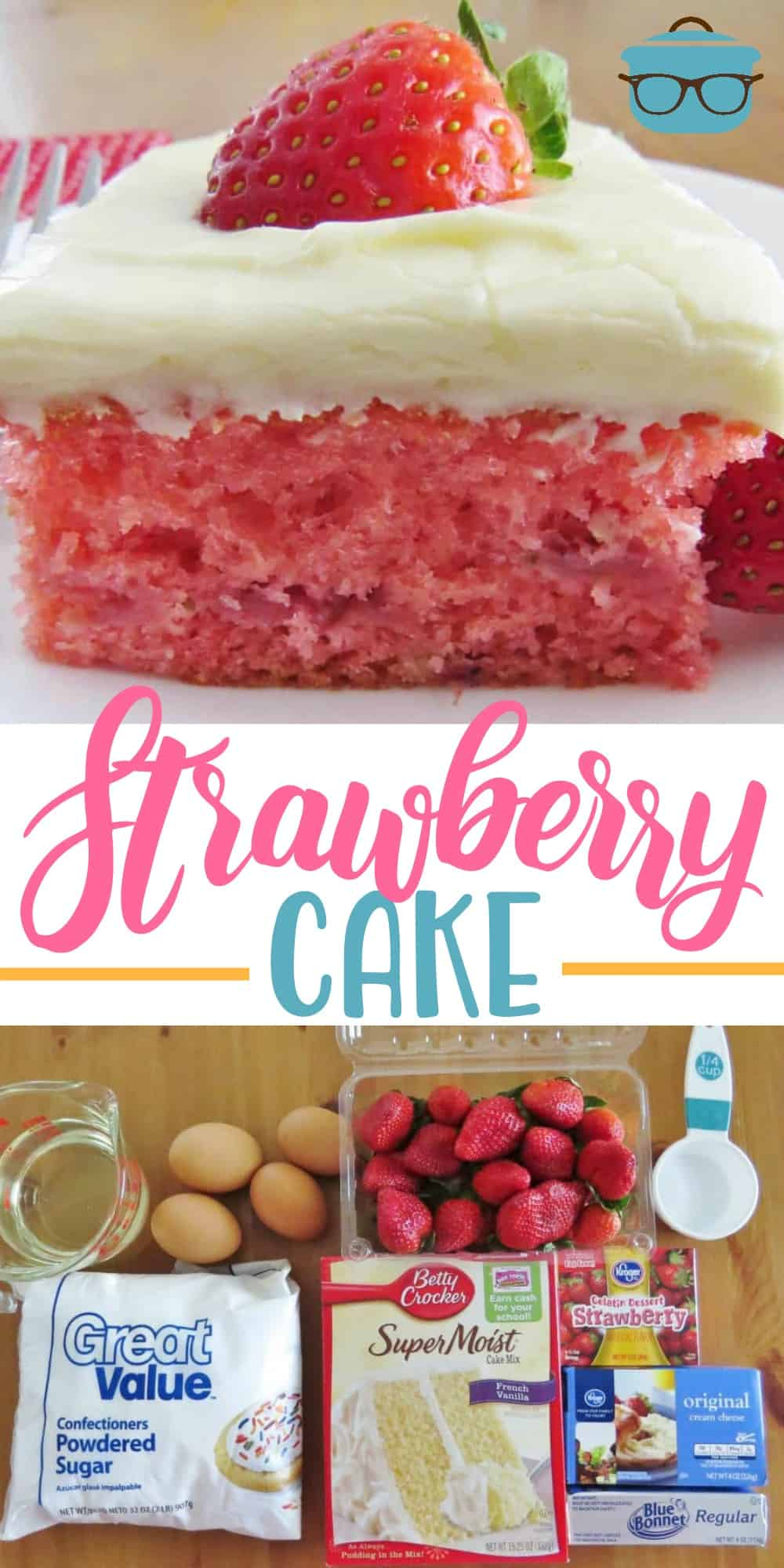 This Easy Fresh Strawberry Cake starts with a boxed cake mix, strawberry jell-o, fresh strawberries and is topped with cream cheese frosting! #strawberrycake #dessert