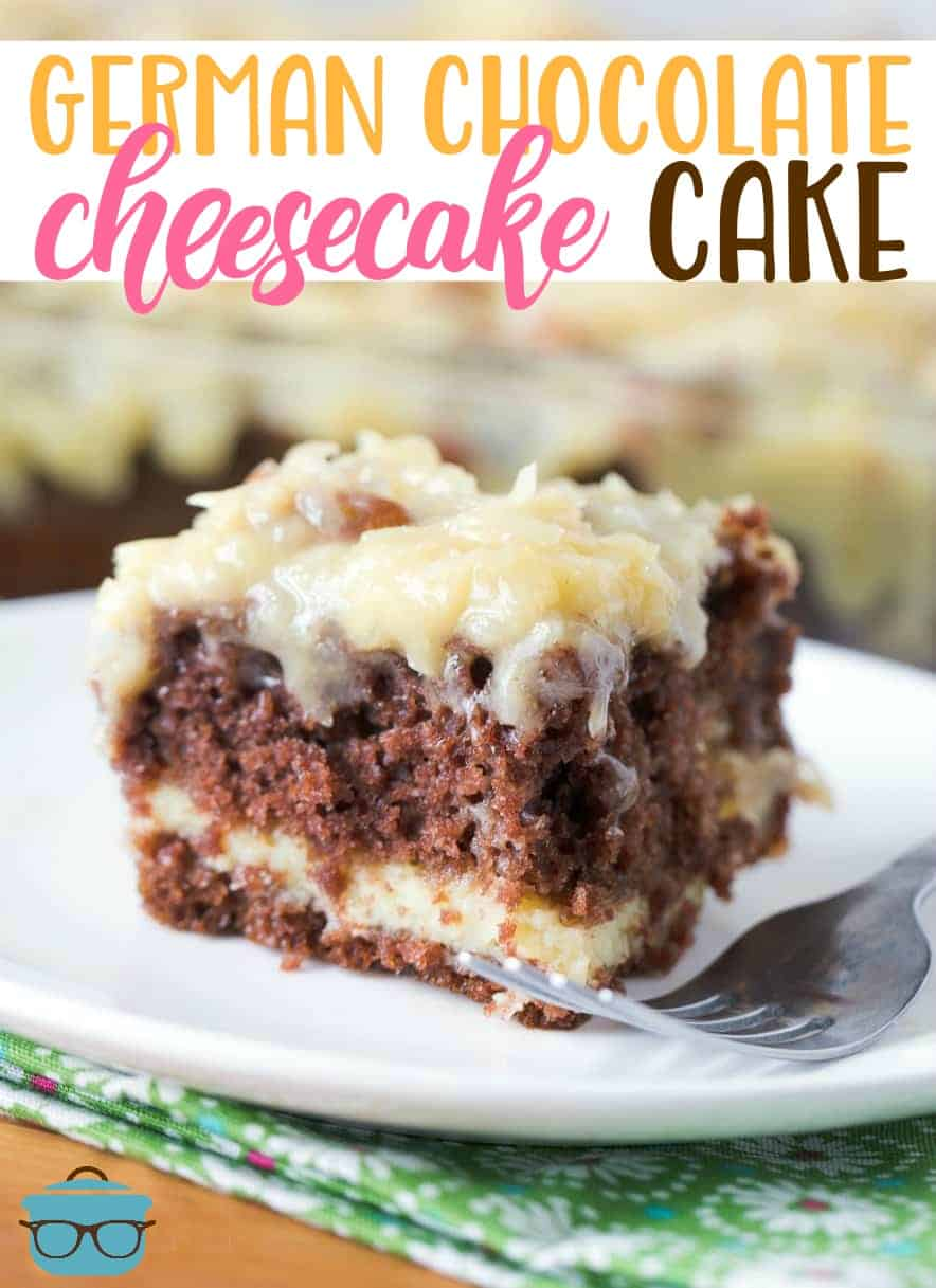 German Chocolate Cheesecake Cake starts with a cake mix swirled with a cheesecake filling and topped with the most amazing homemade frosting!