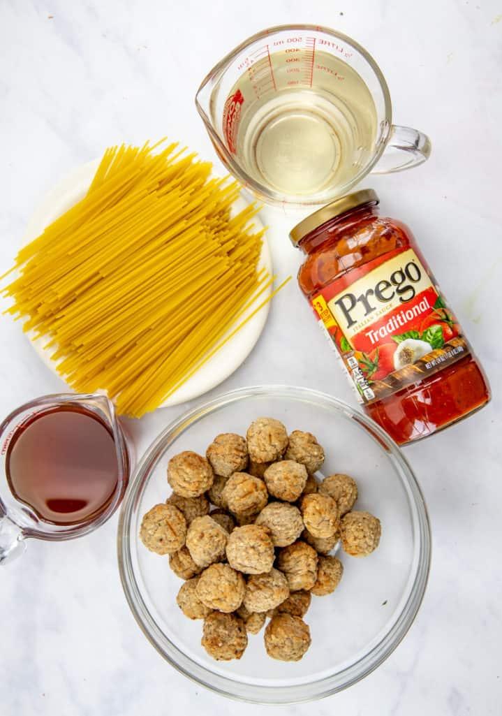 spaghetti sauce, meatballs, spaghetti, water, beef broth