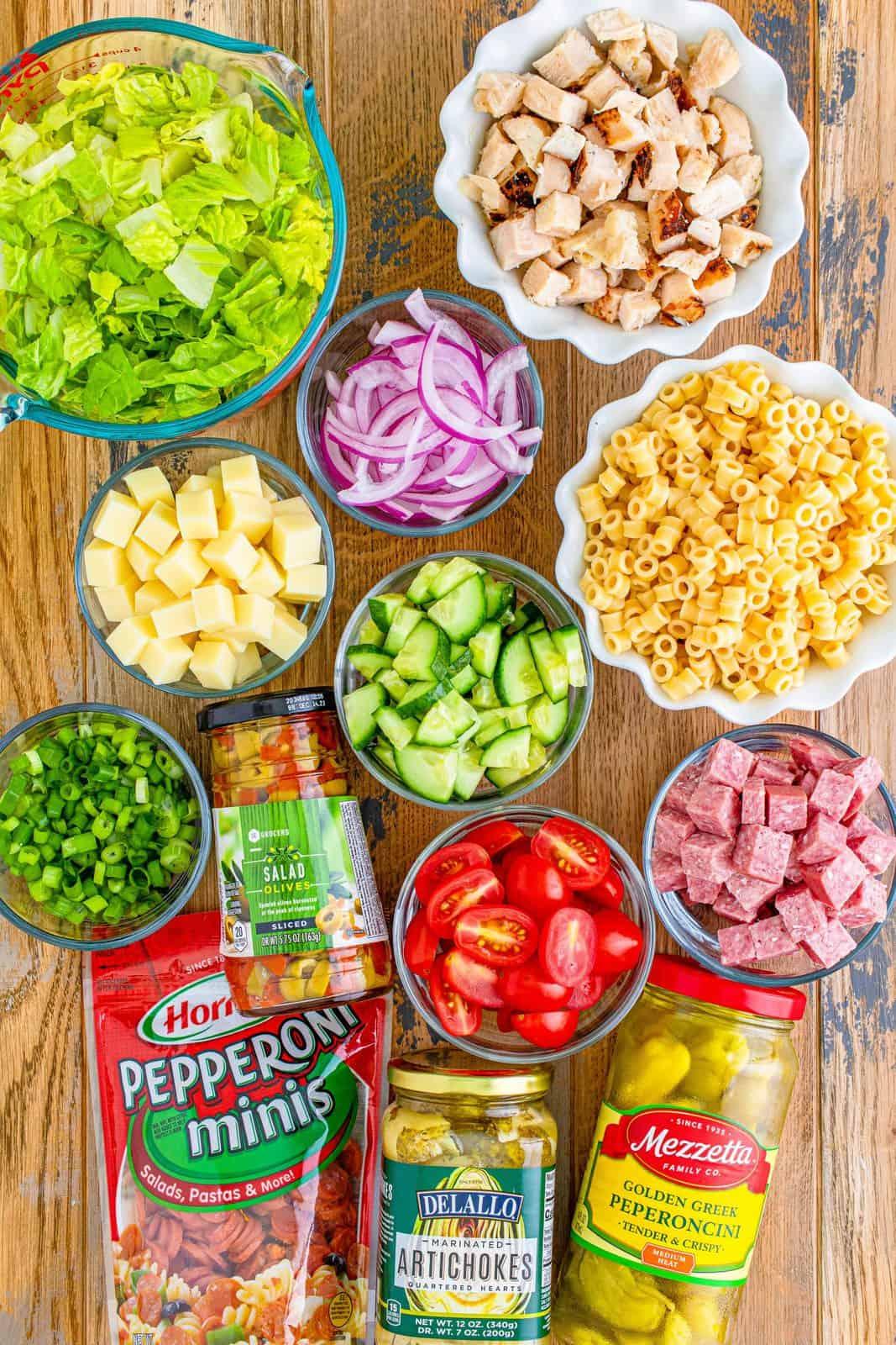 salad ingredients needed: ditalini pasta, romaine lettuce, grape tomatoes, salami, mozzarella, cucumber, green onions, artichoke hearts, grilled chicken breast strips and mini pepperoni.