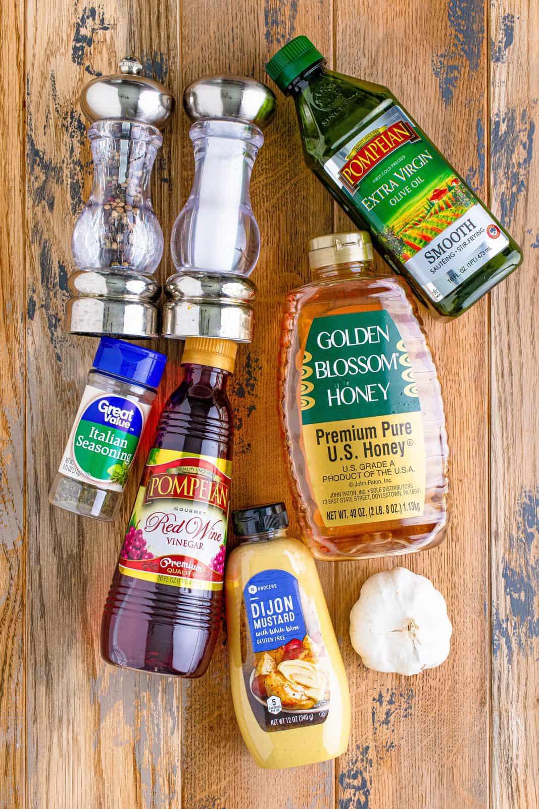 salad dressing ingredients needed: olive oil, red wine vinegar, honey, dijon mustard, Italian seasoning, garlic, salt and pepper.