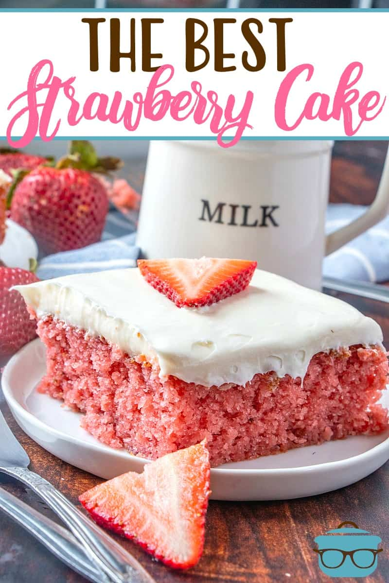 This Easy Fresh Strawberry Cake starts with a boxed cake mix, strawberry jell-o, fresh strawberries and is topped with cream cheese frosting!