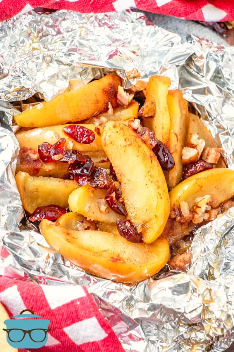 sliced apples, dried cranberries, pecans and brown sugar cooked in aluminum foil packets.