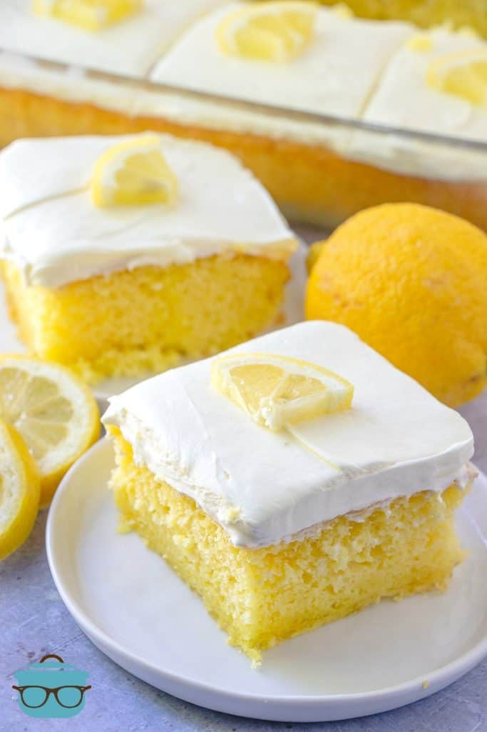 slices, Lemon Poke Cake with fresh lemon