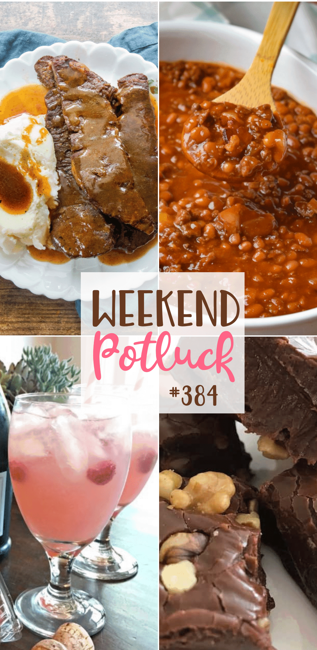 Weekend Potluck featured recipes include: Best Ever Baked Beans, Instant Pot Ribs & Gravy, Easy Chocolate Fudge Anyone Cane Make, Raspberry Lemonade Cocktail Spritzers #weekendpotluck #mealplanrecipes