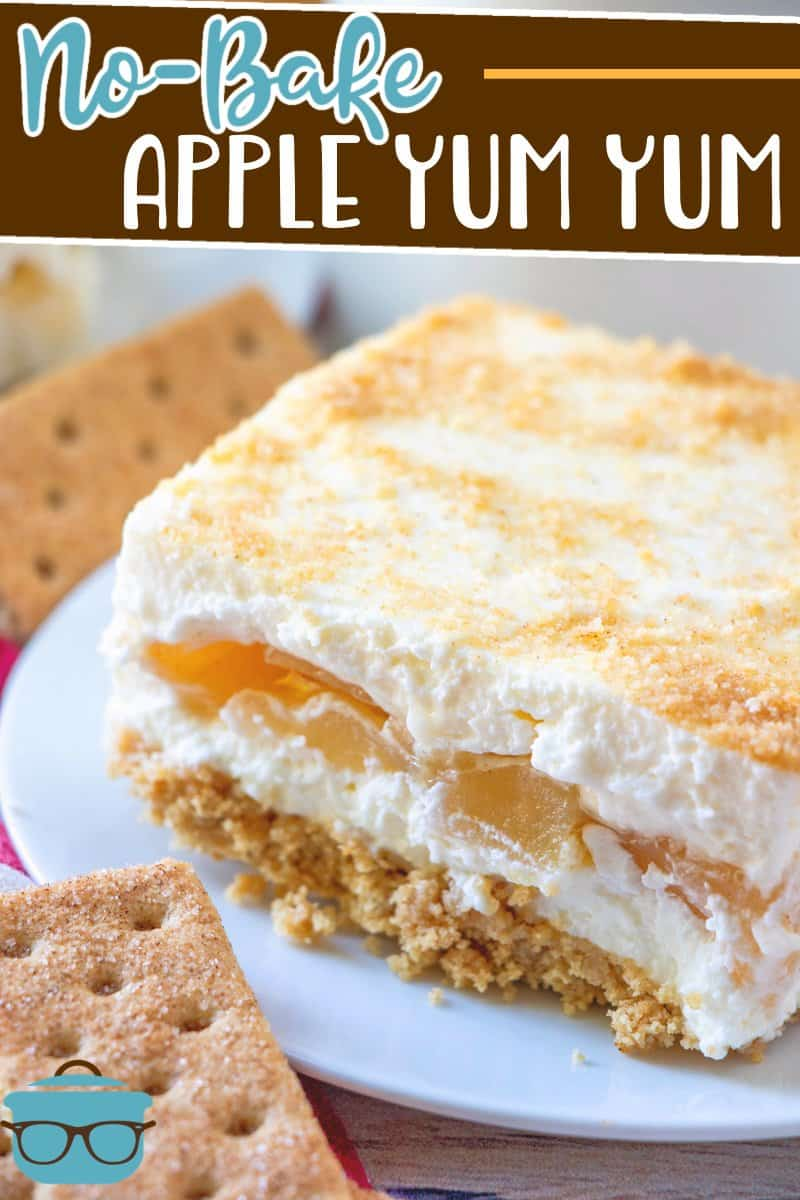 No-Bake Apple Yum Yum is an easy four layer dessert of graham crackers, apple pie filling, sweetened cream cheese and whipped topping!