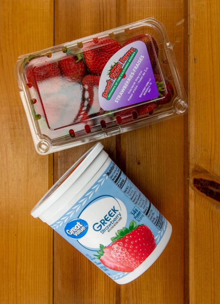strawberry Greek yogurt and fresh strawberries