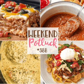 Weekend Potluck featured recipes include Home Run Hot Dog Chili, Mexican Lasagna, Southern Smothered Boneless Pork Chops and Slow Cooker Smothered Fritos Taco Bowls #weekendpotluck #mealplan