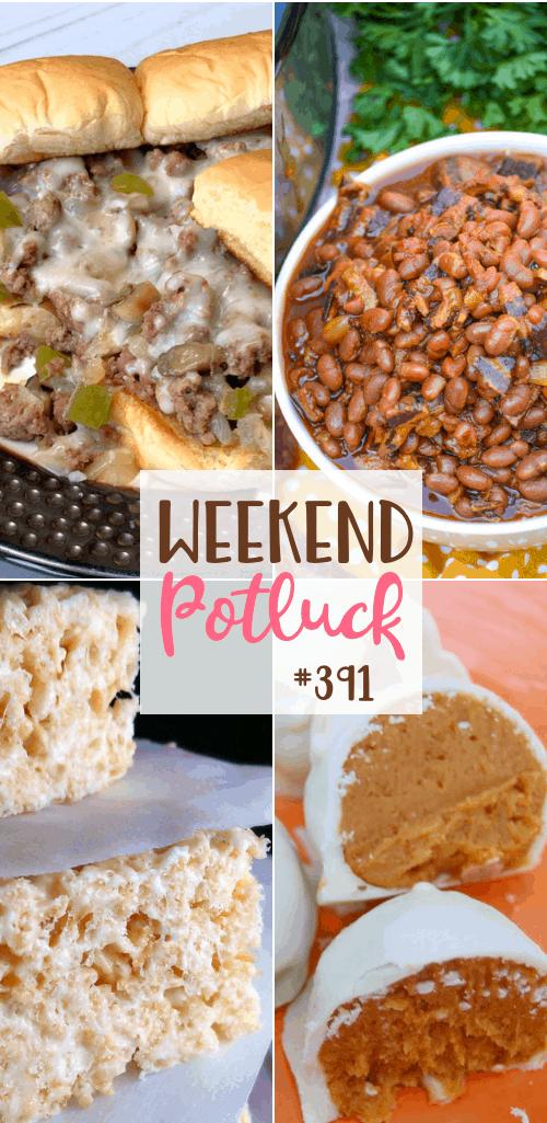Recipes include: No-Bake Pumpkin Cheesecake Balls, Philly Cheesesteak Sloppy Joe Sandwiches, Slow Cooker Baked Beans with Bacon, Best Ever Rice Krispie Treats #mealplan #weekendpotluck