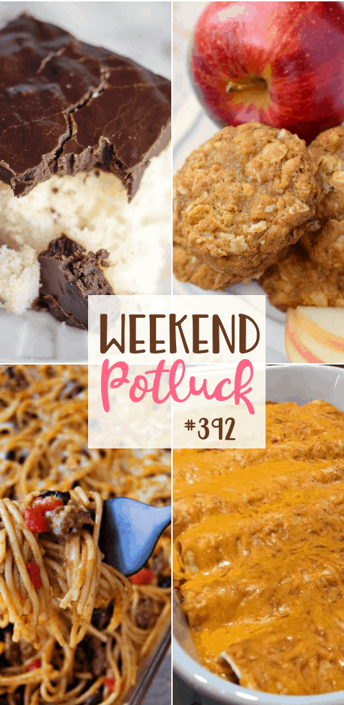 Weekend Potluck featured recipes include: Chewy Apple Cookies, Taco Spaghetti, Grandma Pearl's Flaky Chocolate Icing, Easy Cheesy Beef Enchiladas