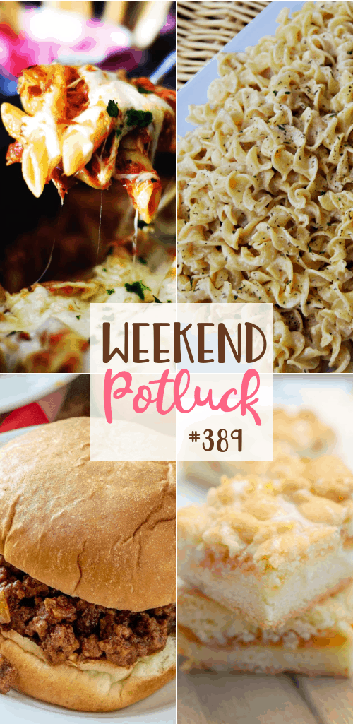 Weekend Potluck featured recipes include: Creamy Cajun Noodles, Crock Pot Chicken Parmesan Penne Pasta, Apricot Cookie Bars and Crock Pot Sloppy Joes #weekendpotluck #mealplan