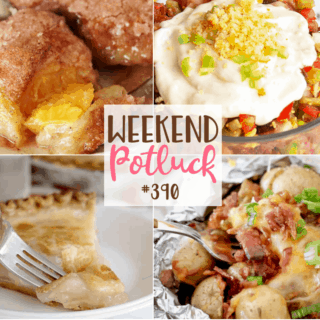Weekend Potluck featured recipes include: Great Depression Water Pie, Crescent Roll Peach Dumplings, Tennessee Cornbread Salad and BBQ Pork Potato Foil Packets #weekendpotluck #mealplan