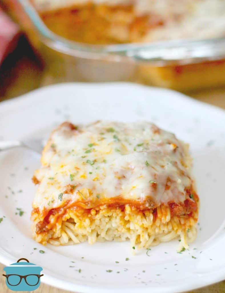 slice, on a plate, Best Baked Spaghetti