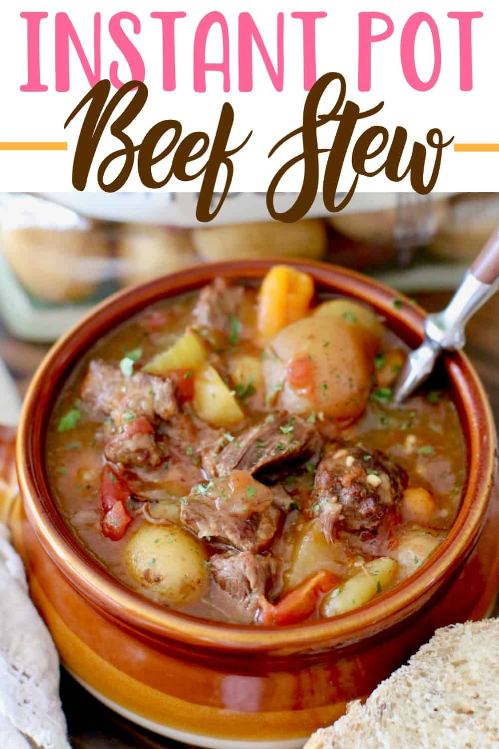 The Best Instant Pot Beef Stew really is the best ever and so easy! It's thick and stuffed full of beef, Little potatoes, carrots, onion and celery! #InstantPot #beefstew