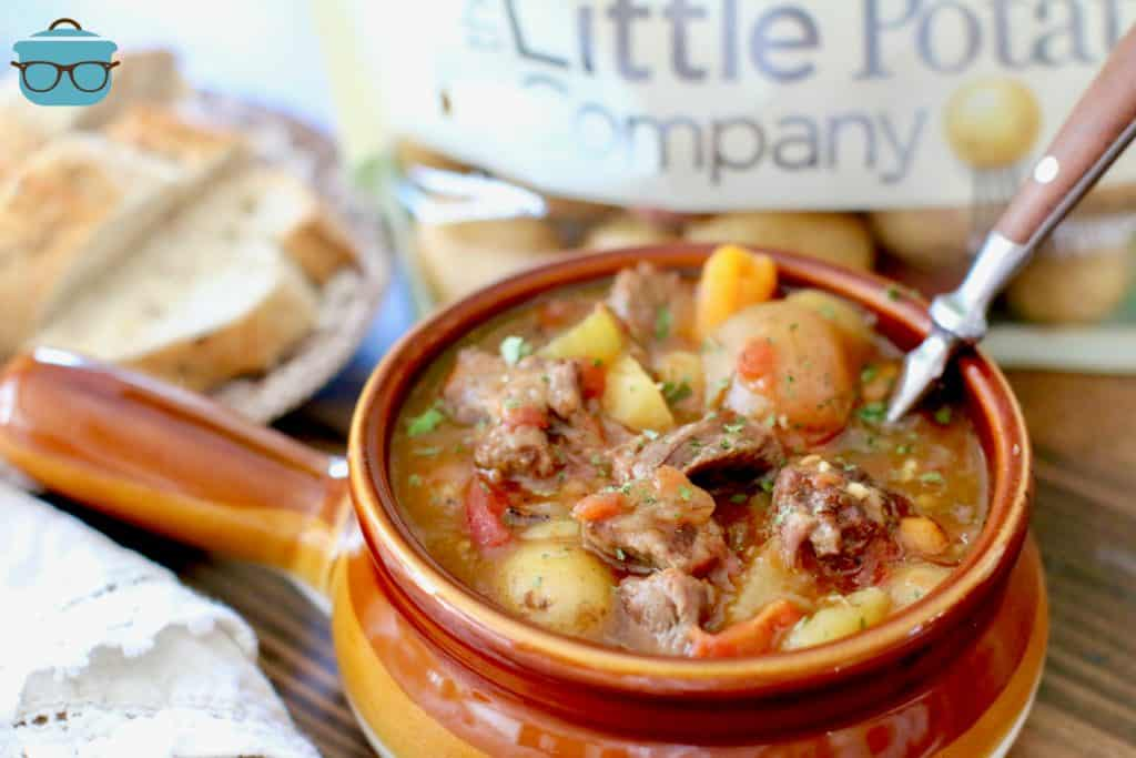 Instant Pot Beef Stew with Little Potatoes with sliced bread