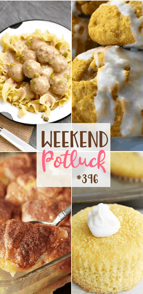 Weekend Potluck featured recipes: Crescent Roll Apple Dumplings, Homemade Authentic Swedish Meatballs with Noodles, Twinkie Cakes, Old-Fashioned Soft Pumpkin Cookies #mealplan #weekendpotluck