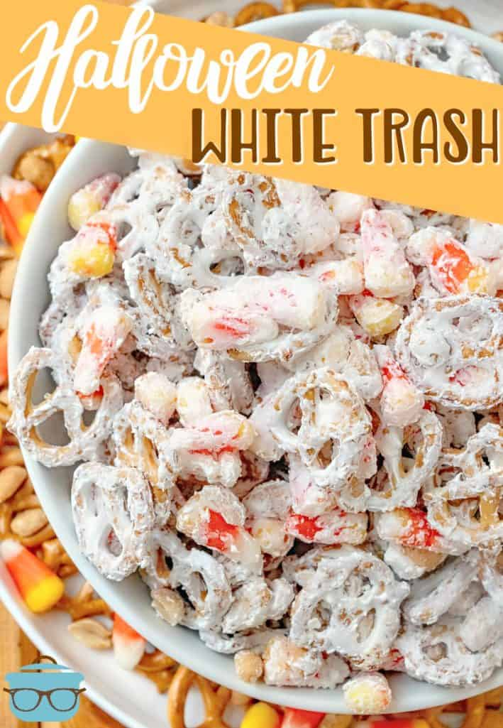 Halloween inspired candy coated snacks show in a large white bowl recipe from The Country Cook