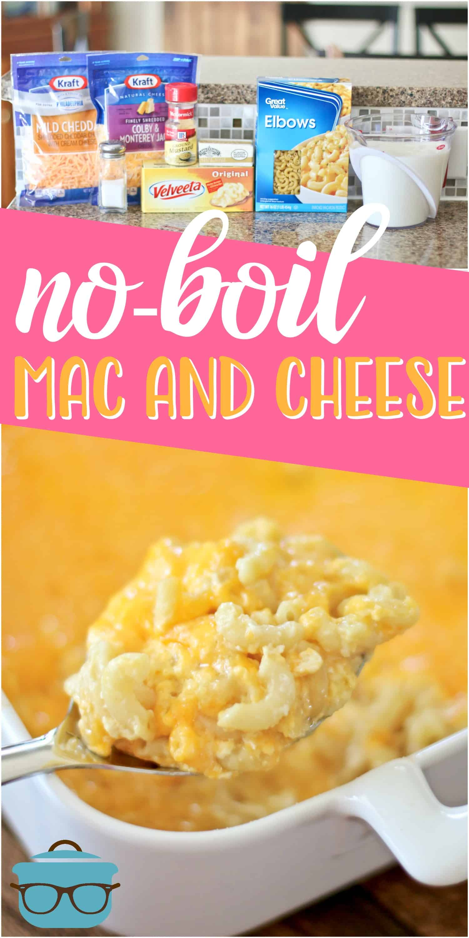 No-Boil Homemade Macaroni and Cheese! The easiest, creamiest homemade macaroni and cheese ever. No boiling the noodles first! #macaroniandcheese #ovenbaked