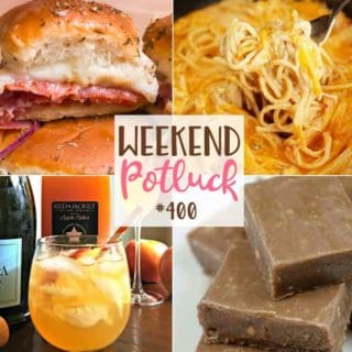 Weekend Potluck featured recipes include: Quick, Easy Homemade Fudge, Baked Italian Sliders, Ultimate Crock Pot Chicken Spaghetti and Apple Cider Cocktail Spritzer #mealplan #weekendpotluck