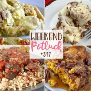 Featured recipes at Weekend Potluck include: Baked Chicken and Dumplings, Slow Cooker Swiss Steak, Easy Pumpkin Cobbler and Sweet Pecan Cinnamon Rolls #mealplan #weekendpotluck